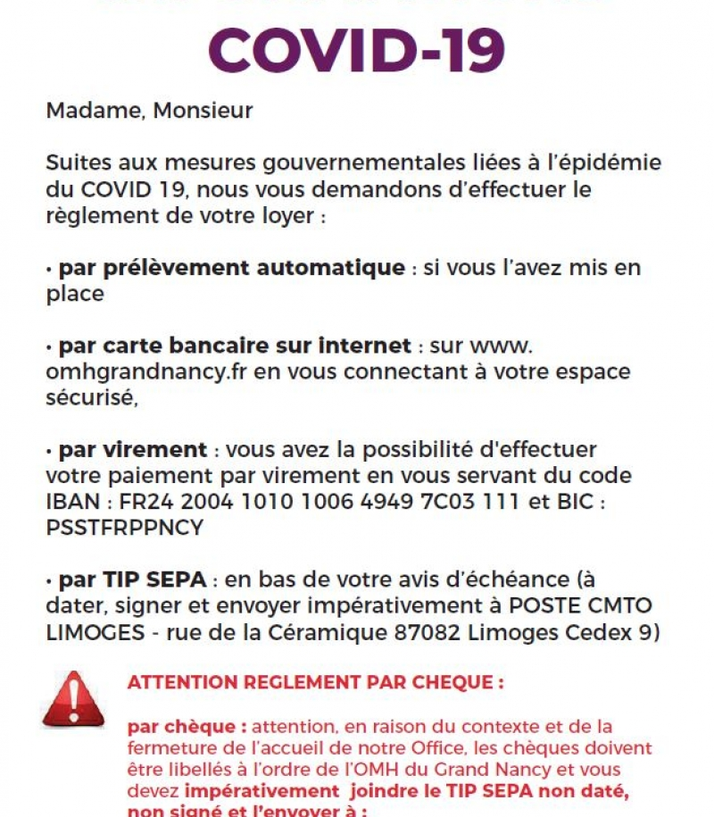 INFORMATION PAIEMENTS, COVID-19